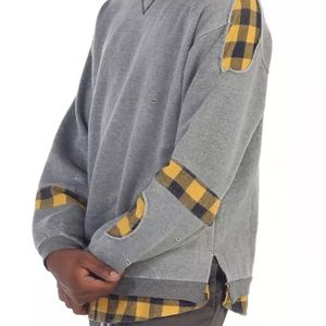 EPTM Butcher Flannel Crewneck Grey Distressed